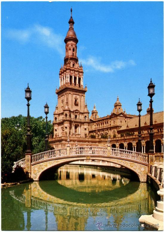 POSTAL SEVILLA - PLAZA DE ESPAÑA (Postales - España - Andalucia Moderna (desde 1.940))