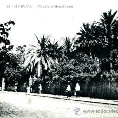 Postales: POSTAL CON FOT DE ANTIGUA ALAMEDA SUNDHEIN EN HUELVA. Lote 36638125
