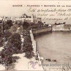 Postales: ANTIGUA POSTAL UPU CADIZ ALAMEDA Y BATERIA DE LA CANDELARIA EDICION J BUENO ESCRITA. Lote 36829299