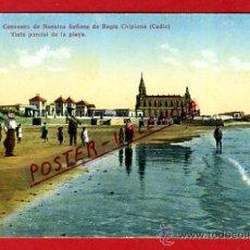 Postales: POSTAL CHIPIONA, CADIZ, SANTUARIO Y CONVENTO DE NTRA. SRA. DE REGLA, LA PLAYA, P77148. Lote 37347409
