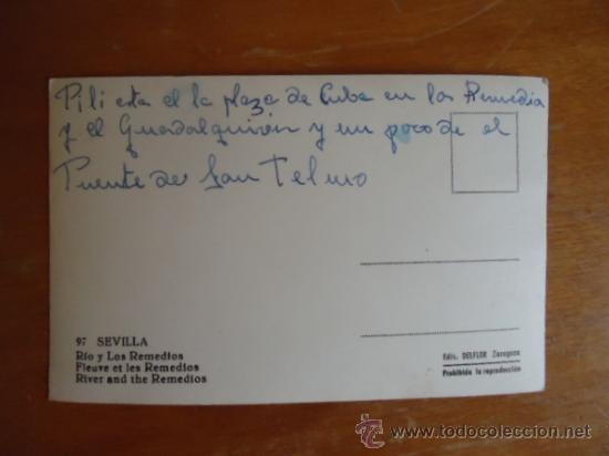 Postales: antigua rara postal n 97 sevilla , rio y los remedios, ediciones delflor zaragoza , - Foto 2 - 48441854