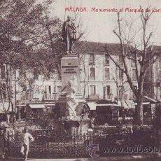Postales: MALAGA. MONUMENTO AL MARQUÉS DE LARIOS EN LA ALAMEDA.. Lote 38770261