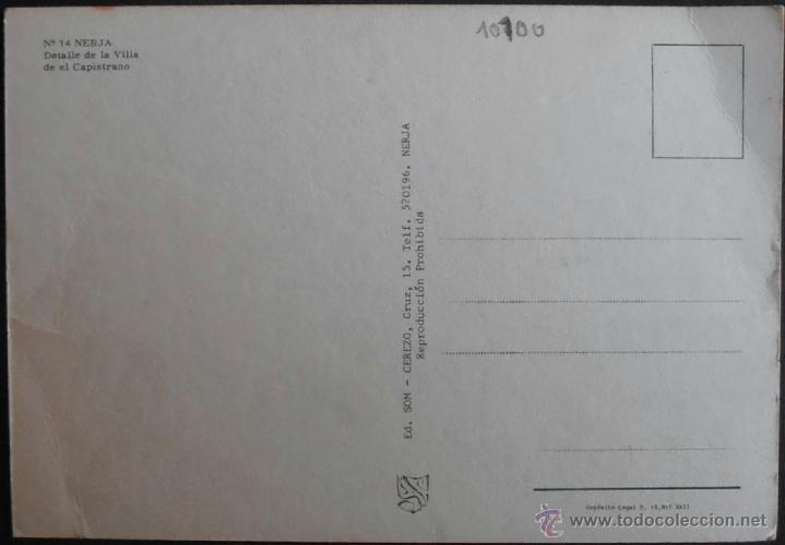Postales: (10100)POSTAL SIN CIRCULAR,VILLA DE EL CAPISTRANO,NERJA,MÁLAGA,ANDALUCIA,CONSERVACION: - Foto 2 - 39574791