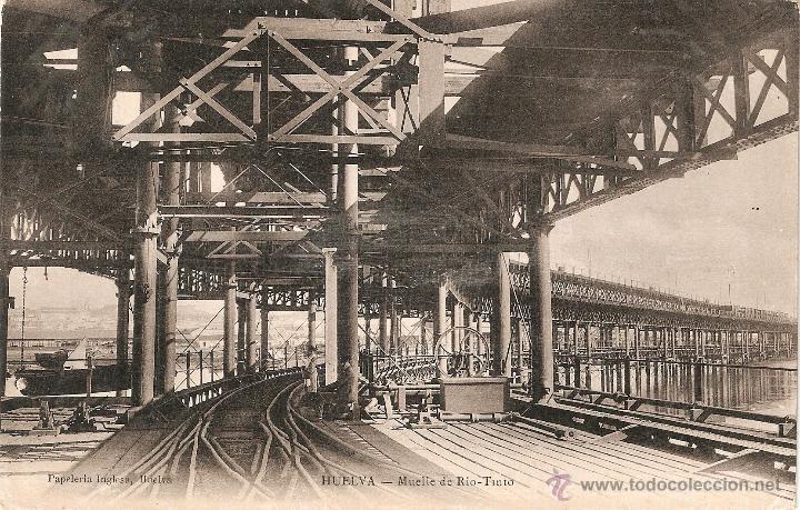 MUELLE DE RIO TINTO - HUELVA PAPELERIA INGLESA CIRCULADA EN 1910 (Postales - España - Andalucía Antigua (hasta 1939))