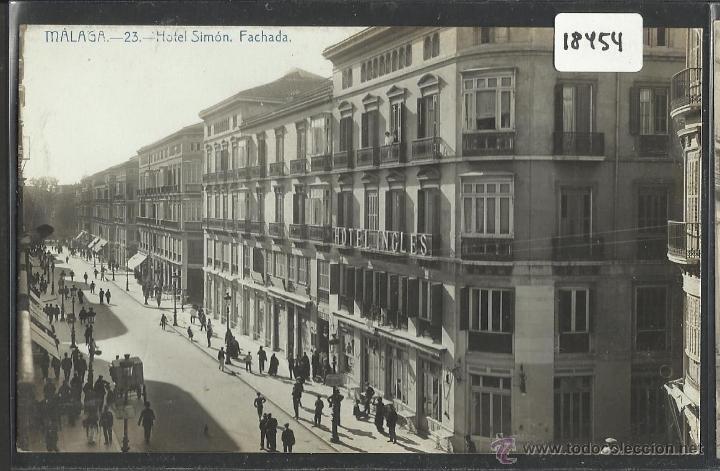 MALAGA - 23 - HOTEL SIMON . FACHADA - FOTOGRAFICA - (18454) (Postales - España - Andalucía Antigua (hasta 1939))