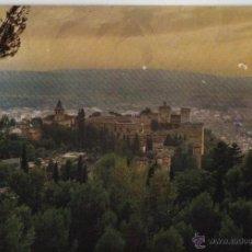 Postales: POSTAL GRANADA, PUESTA DE SOL, VISTA DE ALHAMBRA Y CIUDAD. Lote 40623749