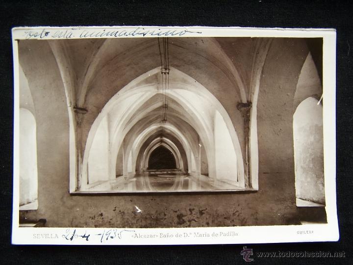 POSTAL FOTOGRÁFICA CIRCULADA 1935 FOT AGUILERA SEVILLA ALCÁZAR BAÑO Dª MARÍA DE PADILLA (Postales - España - Andalucía Antigua (hasta 1939))