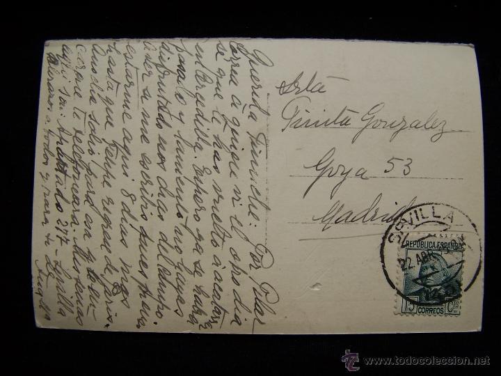 Postales: Postal fotográfica circulada 1935 Fot Aguilera Sevilla Alcázar Baño Dª María de Padilla - Foto 2 - 41334470