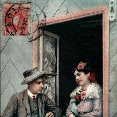 Postales: TIPOS DE CADIZ. MANOLO DÁNDOLE COBA A PACA. AÑO 1907. Lote 42521285