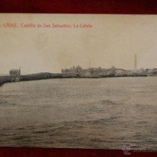Postales: ANTIGUA POSTAL DE CADIZ. CASTILLO DE SAN SEBASTIAN, LA CALETA. FOT. THOMAS. SIN CIRCULAR. Lote 42705575