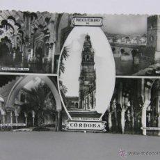 Postales: POSTAL SIN CIRCULAR RECUERDO DE CORDOBA MEZQUITA MIHRAB PUENTE ROMANO PATIO PALACIO VIANA 1953. Lote 42951429