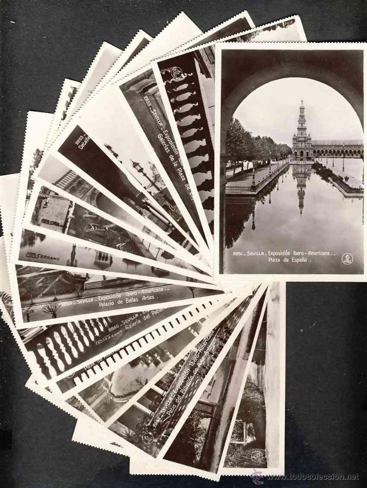 LOTE DE 15 POSTALES DE LA EXPOSICION IBERO AMERICANA DE SEVILLA (ED. UNIQUE) (VER FOTOS ADICIONALES) (Postales - España - Andalucía Antigua (hasta 1939))