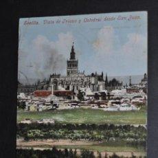 Postales: ANTIGUA POSTAL DE SEVILLA. VISTA DE TRIANA Y CATEDRAL DESDE SAN JUAN. CIRCULADA. Lote 43725441