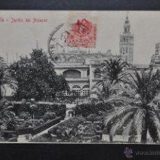 Postales: ANTIGUA POSTAL DE SEVILLA. JARDIN DEL ALCAZAR. CIRCULADA. Lote 43728646