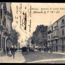 Postales: MÁLAGA. ALAMEDA DE CARLOS HAES. CIRCULADA. Lote 43805905