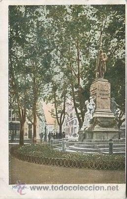 POSTAL DE LA ESTATUA DEL MARQUES DE LARIOS - MALAGA - COLOREADA - DEL RIO (Postales - España - Andalucía Antigua (hasta 1939))