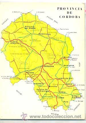 Mapa Provincia De Cordoba España.Mapa De Provincia De Cordoba Reverso Con Publicidad De Farmacia Laboratorios Drag Circulada