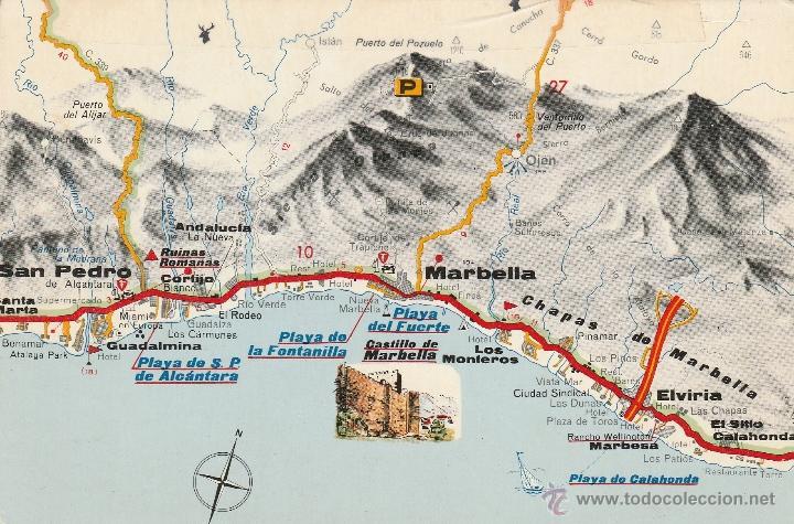 Mapa Turistico De Malaga.Nº 13625 Postal Malaga Mapa Turistico Costa Del Sol