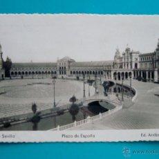 Postales: FOTO POSTAL PLAZA DE ESPAÑA SEVILLA DESTINO VALENCIA EDIFIL 1054. Lote 45727324