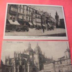 Postales: 2 ANTIGUAS POSTALES DE SEVILLA (PLZ. CONSTITUCIÓN)Y SEGOVIA (LA CATEDRAL) (FP00035). Lote 46251956