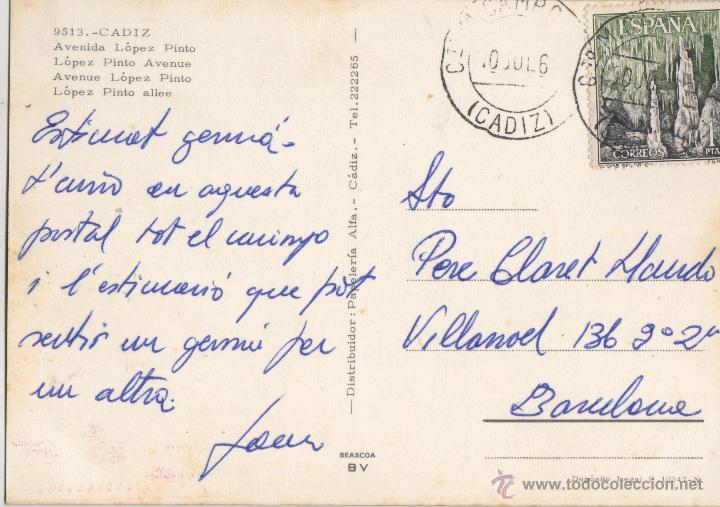 Postales: POSTAL DE CADIZ - AVDA. LOPEZ PINTO - Nº 9513 DE PAPELERIA ALFA - Foto 2 - 46786302