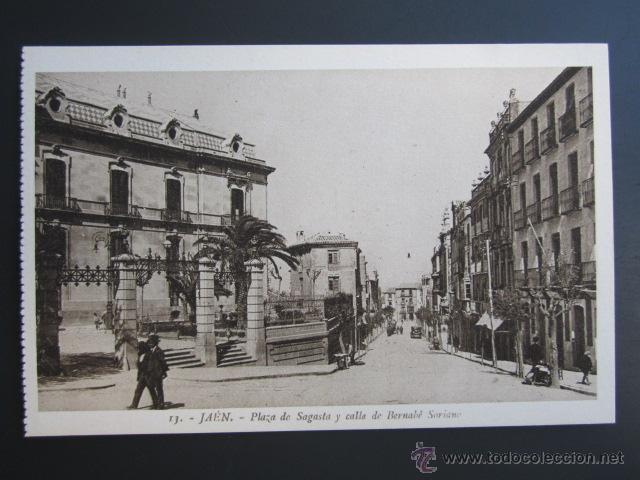 POSTAL JAEN. PLAZA DE SAGASTA Y CALLE DE BERNABÉ SORIANO. (Postales - España - Andalucía Antigua (hasta 1939))