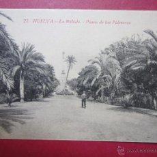 Postales: HUELVA. LA RÁBIDA. PASEO DE LAS PALMERAS. Nº22.. Lote 47360495