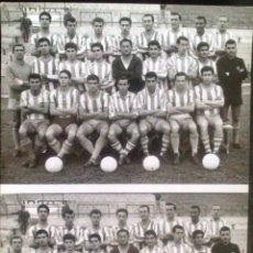 Postales: TARJETA TAMAÑO POSTAL CLUB DEPORTIVO MALAGA, DOBLE FOTOGRAFIA, EQUIPO AÑO 1962, FOTO CORTES. . Lote 47591622