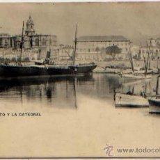 Postales: POSTAL MALAGA EL PUERTO Y LA CATEDRAL ED. HAUSER Y MENET SIN DIVIDIR. Lote 47917147