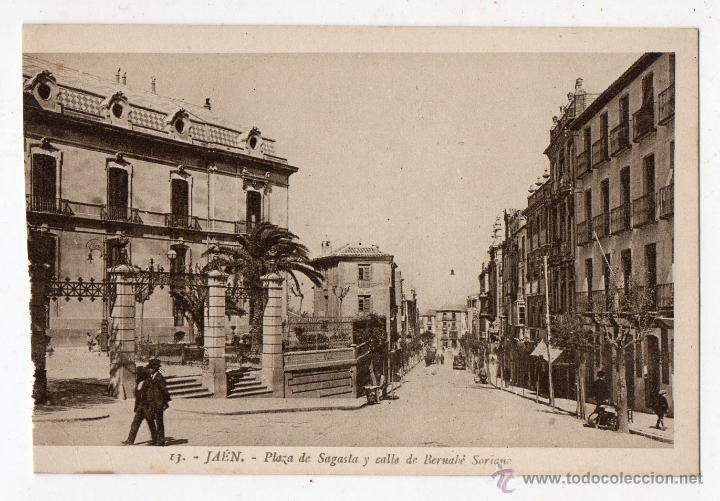 JAÉN. PLAZA SAGASTA Y CALLE DE BERNABÉ SORIANO. (Postales - España - Andalucía Antigua (hasta 1939))