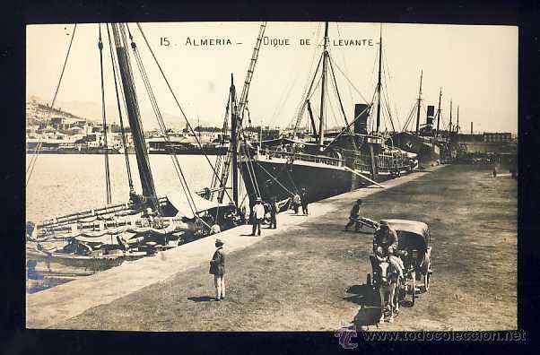 POSTAL DE ALMERIA: DIQUE DE LEVANTE. FOTOGRAFICA ANTIGUA (NUM. 15) (Postales - España - Andalucía Antigua (hasta 1939))