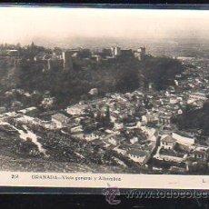 Postales: TARJETA POSTAL DE GRANADA - VISTA GENERAL Y ALHAMBRA. 213. L.ROISIN. Lote 49065525