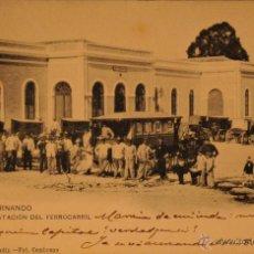 Postales: SAN FERNANDO - CADIZ - ESTACION DEL FERROCARRIL - FOTOGRAFIA IMPRESA CIRCULADA Y DORSO DIVIDIDO. Lote 49075683
