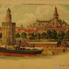 Postales: SEVILLA - VISTA GENERAL DEL MUELLE-MIRESE AL TRANSPARENTE-ILUSTRADA SIN CIRCULAR Y DORSO SIN DIVIDIR. Lote 49077156