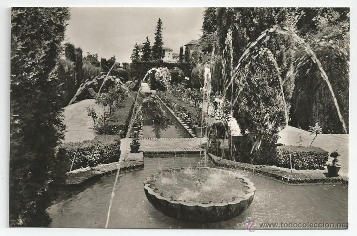 POSTAL GRANADA - GENERALIFE, DETALLE JARDINES NUEVOS - FOTO ZERKOWITZ (Postales - España - Andalucia Moderna (desde 1.940))