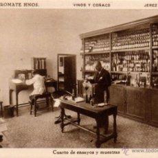 Postales: BODEGAS SANCHEZ ROMATE HNOS. JEREZ VINOS Y COÑAC,CUARTO DE ENSAYOS Y MUESTRAS. Lote 50103483