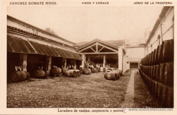 BODEGAS SANCHEZ ROMATE HNOS. JEREZ VINOS Y COÑAC, LAVADERO DE VASIJAS,CARPINTERIA (Postales - España - Andalucía Antigua (hasta 1939))