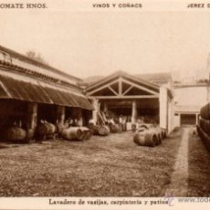 Postales: BODEGAS SANCHEZ ROMATE HNOS. JEREZ VINOS Y COÑAC, LAVADERO DE VASIJAS,CARPINTERIA. Lote 50103574