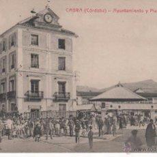 Postales: ANTIGUA POSTAL DECABRA ( CÓRDOBA ). AYUNTAMIENTO Y PLAZA DE ABASTOS. Lote 50198633