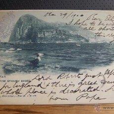Postales: POSTAL DE GIBRALTAR, FROM SPANISH SHORE, G. DAUTEZ H. MENET Nº 304. SELLO REINA VICTORIA ONE PENNY. Lote 50240089