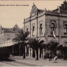 Postales: P-2669. POSTAL DE HUELVA. ESTACION DEL FERRO CARRIL A SEVILLA. PAPELERIA M. MORA Y CIA.. Lote 51662108