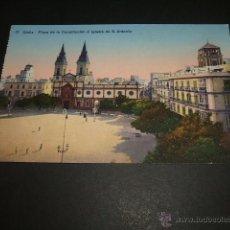 Postales: CADIZ PLAZA DE LA CONSTITUCION E IGLESIA DE SAN ANTONIO. Lote 51789240