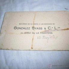 Postales: RECUERO DE LA VISITA A LAS BODEGAS DE GONZALEZ BYASS & C L JEREZ DE LA FRONTERA BLOCK CON 12 POSTALE. Lote 51928172
