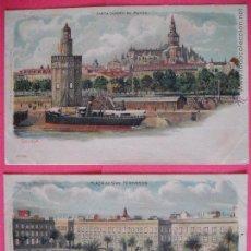 Postales: SEVILLA PLAZA DE SAN FERNANDO- VISTA DEL MUELLE- 1900-2 POSTALES-PABLO DUMMATZEN (TRANSPARENTE). Lote 52406871