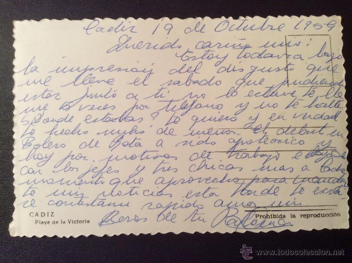 Postales: Cádiz, Playa de la Victoria. Escrita por Paloma Galvez a su marido José Alfredo Jiménez. 1959 - Foto 2 - 52571418