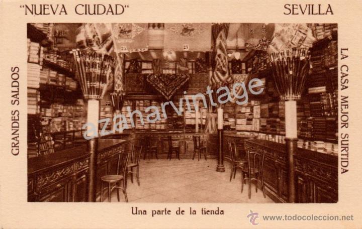 POSTAL PUBLICITARIA ALMACEN DE TEJIDOS NUEVA CIUDAD, UNA PARTE DE LA TIENDA,MUY RARA (Postales - España - Andalucía Antigua (hasta 1939))