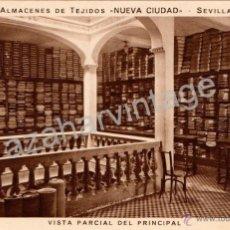Postales: POSTAL PUBLICITARIA ALMACEN DE TEJIDOS NUEVA CIUDAD, VISTA PARCIAL DEL PRINCIPAL,MUY RARA. Lote 53281811