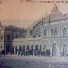 Postales: ESTACION PLAZA ARMAS SEVILLA ED JOSE BUSTILLO S/C Nº 90 MUY ANIMADA CARRETAS . Lote 53468988