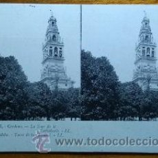 Postales: POSTAL ESTEREOSCOPICA DE LA TORRE DE LA CATEDRAL DE CORDOBA EDITOR LL.. Lote 53502716