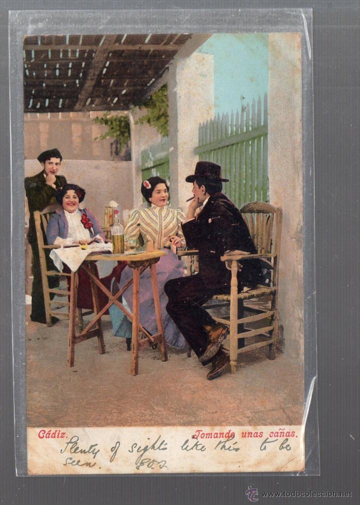 TARJETA POSTAL CADIZ - TOMANDO UNAS CAÑAS. 2710. PURGER & CO. (Postales - España - Andalucía Antigua (hasta 1939))